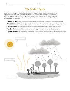 water cycle matching worksheet education