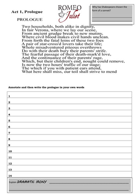 romeo juliet prologue worksheet activities lesley1264 teaching resources