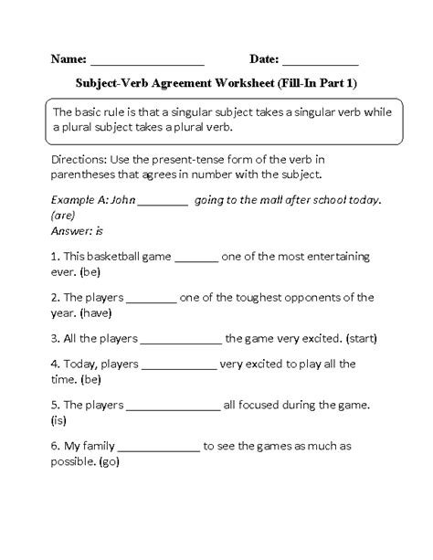 12 images subject verb agreement worksheets 3rd grade