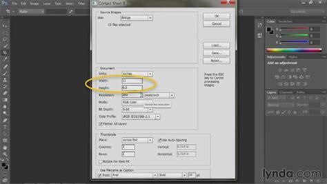 creating contact sheet bridge cc