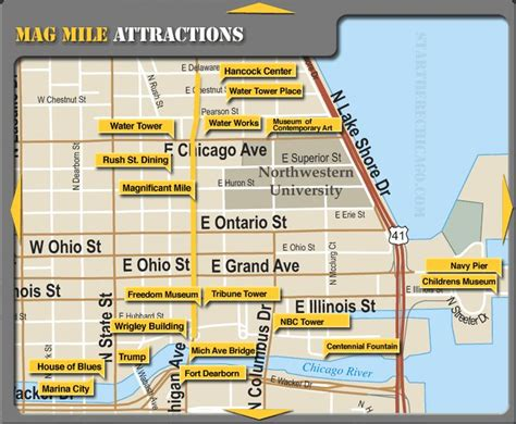 mag mile attractions http startherechicago attraction maps magnificent