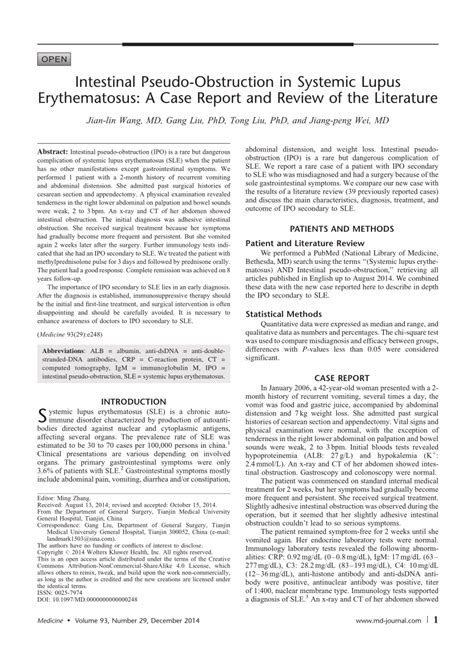 Intestinal Pseudo Obstruction In Patients With Systemic Lupus Erythematosus A Real Diagnostic.html