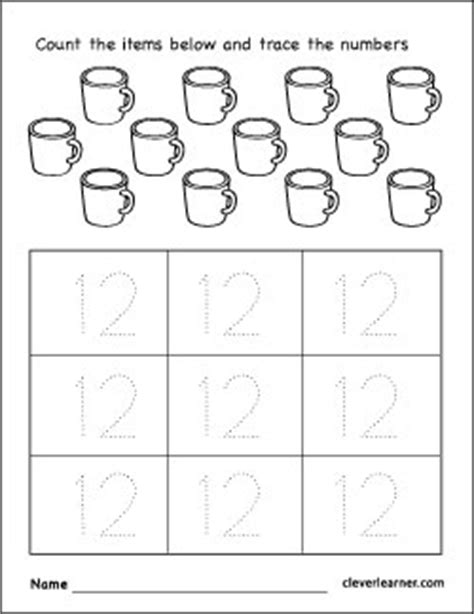 number twelve writing counting identification printable worksheets children