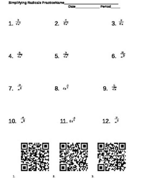 simplifying radicals fractional exponents worksheet qr coded key