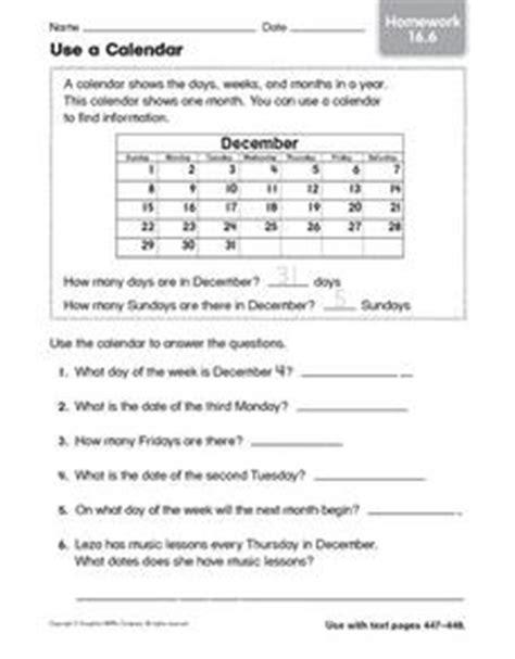 calendar homework 16 6 2nd 3rd grade worksheet