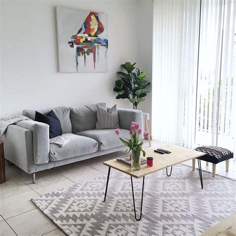 white grey minimalist living room ikea nockeby sofa