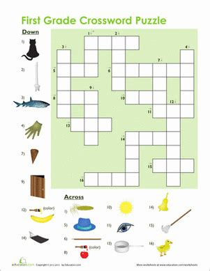 1st grade vocabulary crossword worksheet education