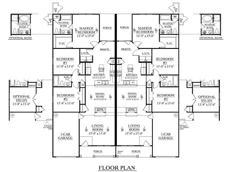 3 bedroom duplex floor plans duplex plan 1392
