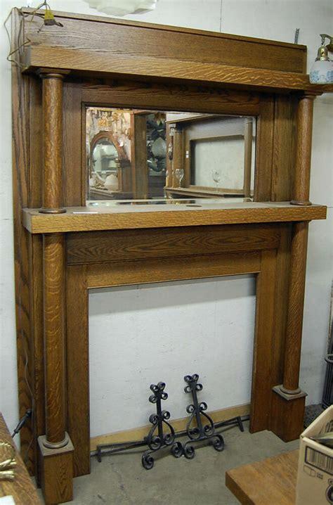 early twentieth century antique oak fireplace mantel