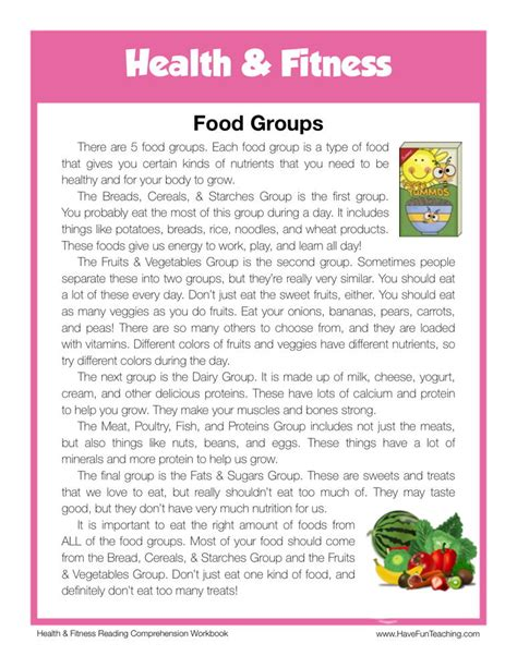 food groups health fitness reading comprehension worksheet fun