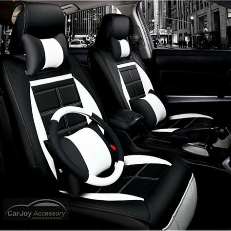 leather car seat cover black white suv toyota