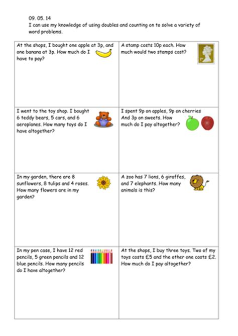 money word problems year 1 teaching resources