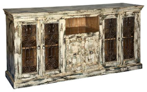 distressed white finish hardwood iron buffet sideboard