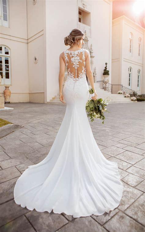 lace chiffon beach wedding dress illusion bodice stella
