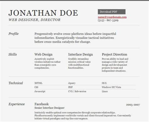 25 free html resume templates successful online job
