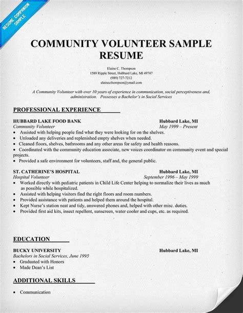 sle resume showing volunteer work community volunteer resume