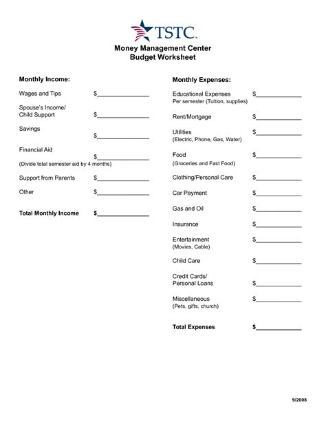 17 images money management worksheets printable monthly money