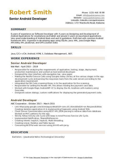 android developer resume sles qwikresume