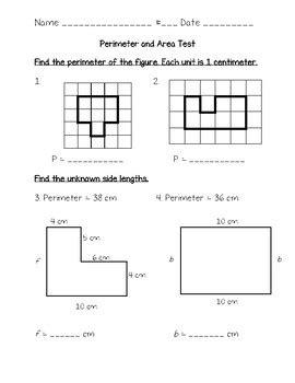 perimeter area test 3rd grade math chapter 11