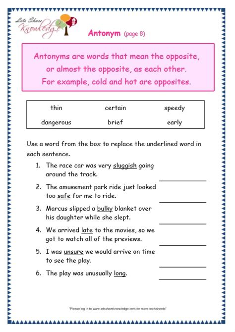 grade 3 grammar topic 28 antonyms worksheets lets