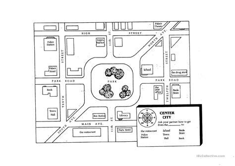giving directions student map worksheet free esl printable