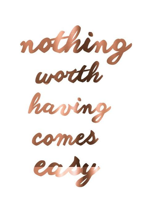 copper print worth easy motivational quote poster real