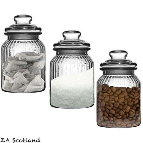 set 3 ribbed glass kitchen food spices candy