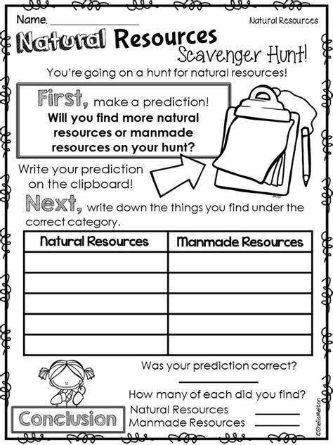 natural resources 1st grade science kindergarten science science
