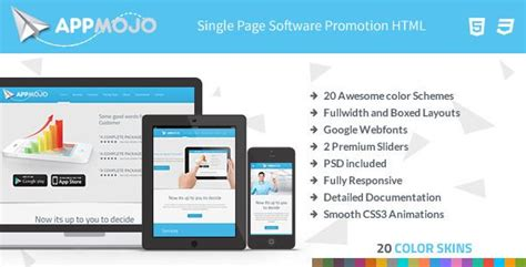 app mojo single page software promotion html android
