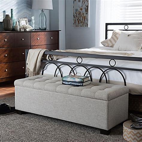 roanoke upholstered grid tufted ottoman bed bath