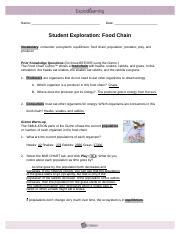 Food Chain Gizmo Answer Sheet