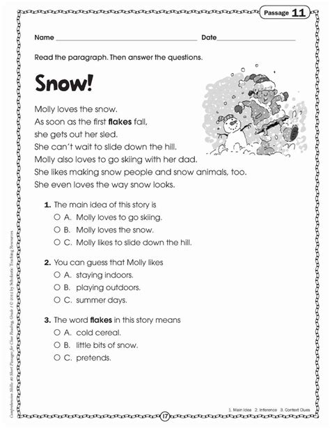 2nd grade reading comprehension worksheets math worksheet kids