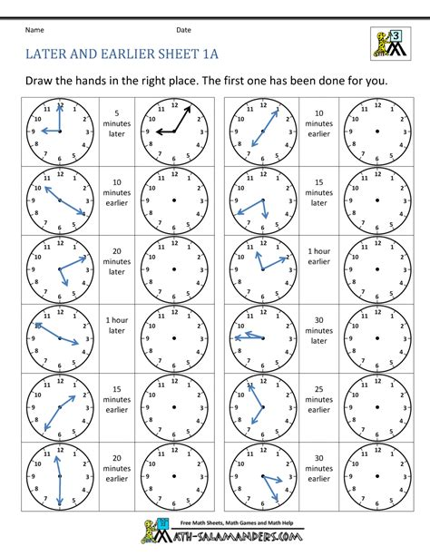 telling time clock worksheets 5 minutes