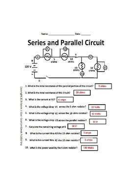 electrical circuits series parallel worksheet tpt
