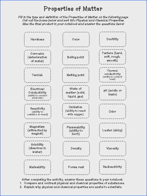 classifying matter worksheet answers mychaume