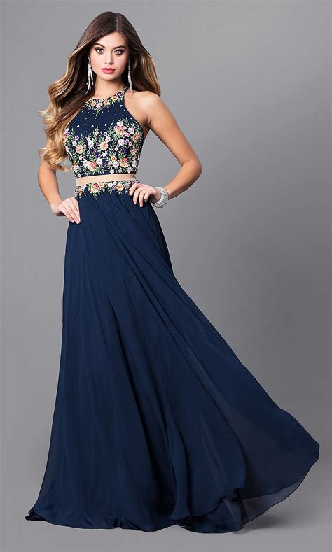 embroidered high neck navy long prom dress promgirl