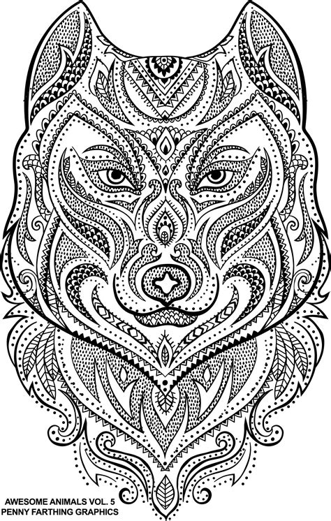 wolf awesome animals 5 animal coloring pages
