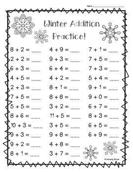 pack addition worksheets students practice basic addition facts