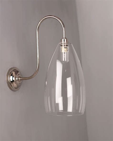 clear glass bathroom wall light swan neck upton