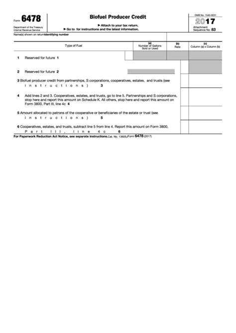 fillable form 6478 biofuel producer credit 2016 printable
