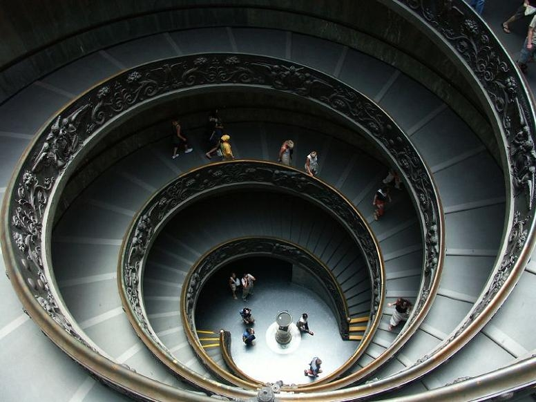 25 Stunning Images Of Spiral Staircases «Twistedsifter | Double Helix Spiral Staircase | Plan | Double Helical | Three Landing Design | Architecture | 1950'S