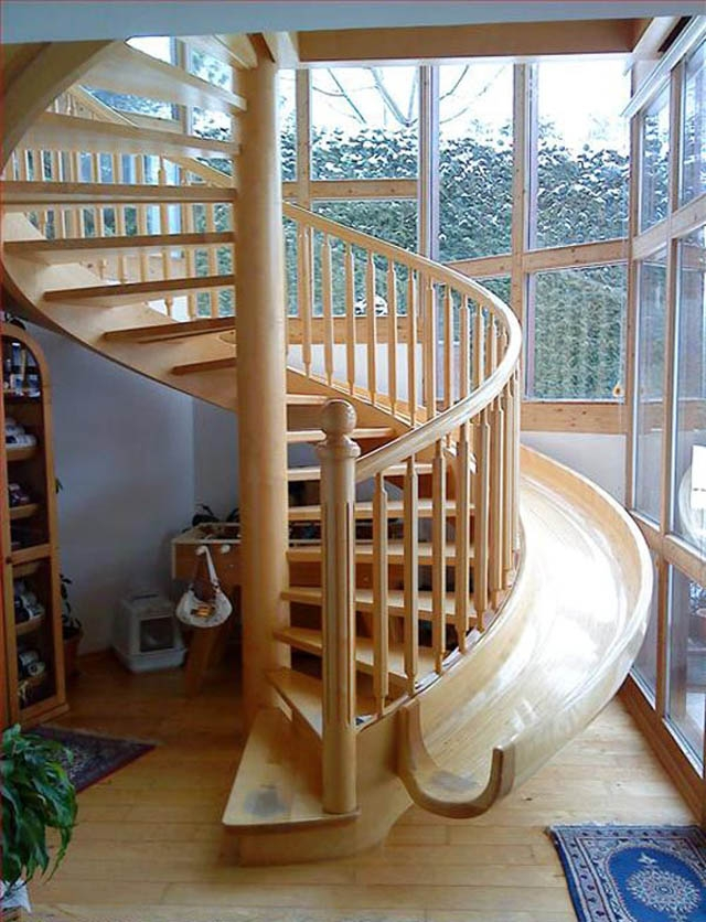 10 Awesome Stairs With Slides «Twistedsifter | Wooden Spiral Staircase For Sale | Solid Wood | 36 Inch Diameter | Unique | Curved | Closed Riser