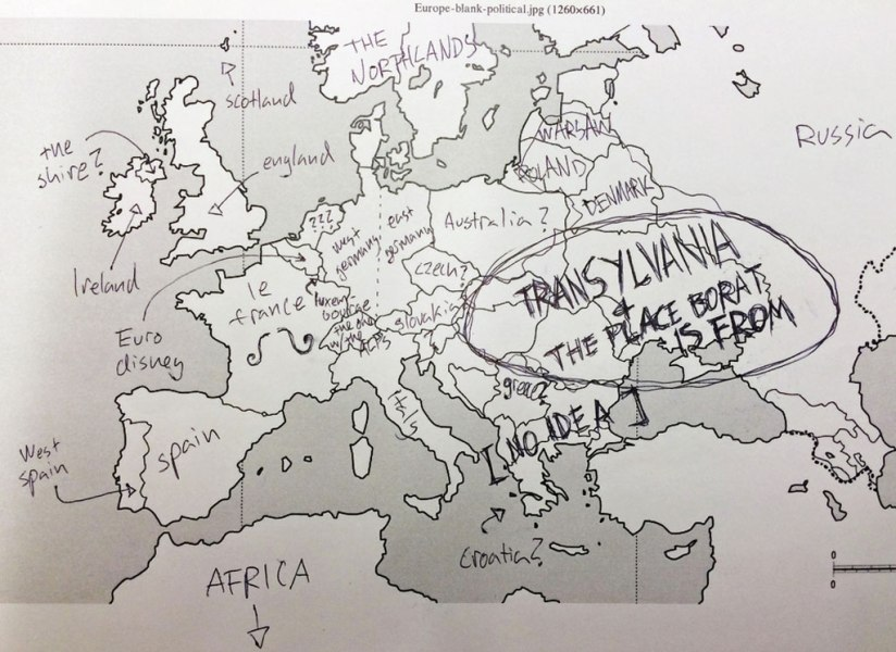 This is What Happens When Americans are Asked to Label Europe and     american students asked to label a map of europe  14