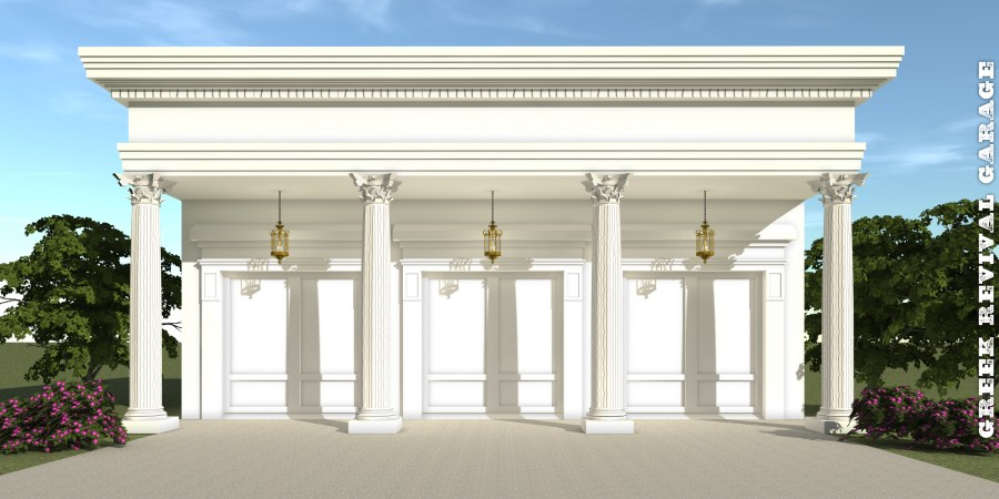 Greek Revival Garage Plan     by Tyree House Plans Greek Revival Garage Plan   Tyree House Plans