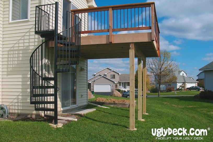 Twin Cities Outdoor Spiral Staircases – Minnesota Deck Builders   Exterior Spiral Staircase For Sale   Roof   Outside   Unique Outdoor   Brick Outdoor   Backyard