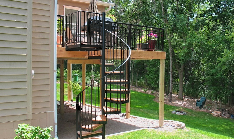 Spiral Staircase Measurements You Need To Know Before Construction | Spiral Staircase Outdoor Deck | Outside Deck | Built Spiral Stair | Balcony Outdoor | Log | 3 Storey