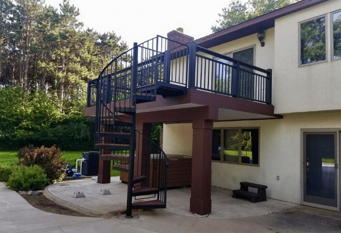 How Much Does An Outdoor Spiral Staircase Cost – Minnesota Deck | Cost Of Outdoor Stairs | Handrail | Staircase | Concrete Steps | Stair Treads | Spiral Staircase