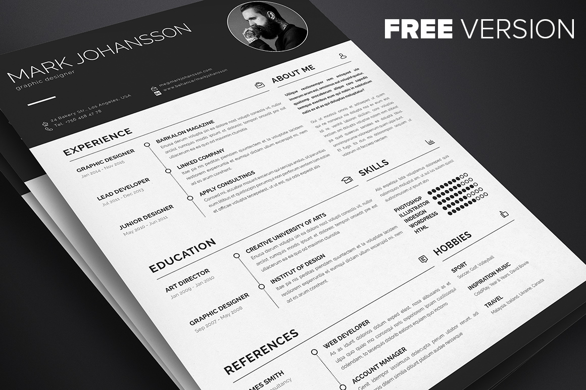 5 Free Professional Clean Resume Templates   A Graphic World 1  Free Clean InDesign Resume Template For Graphic Designers