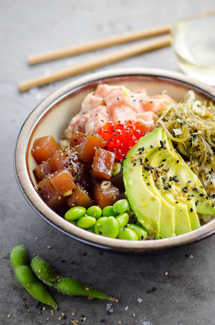 Ahi Tuna Poke Bowl Recipe With Spicy Salmon Umami Girl