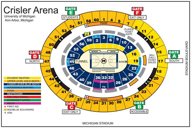 105 Crisler Seating Michigan Section Chart Arena
